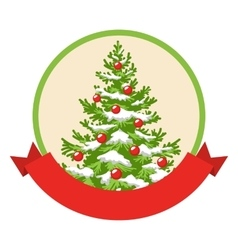Christmas winter label icon with decoration vector