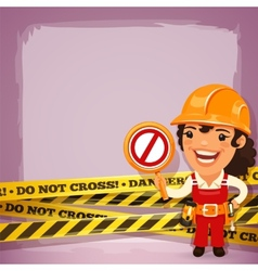 Female Builder With Danger Tapes vector image