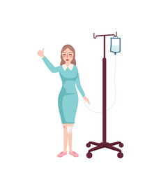 girl nurse standing holding infusion hanging vector image