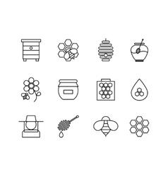 Honey thin line icons set vector image
