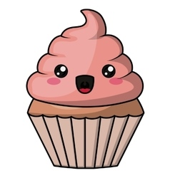 Muffin with kawaii face design vector image