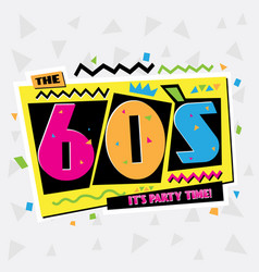 party time the 60s style label vector image vector image