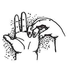 subtracting with two fingers vintage engraving vector image vector image