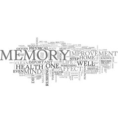 what can i do for memory improvement text word vector image vector image