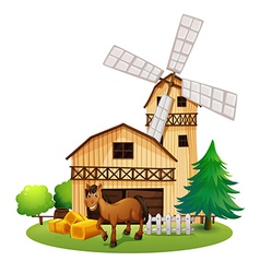 A horse outside the barnhouse at the farm vector image vector image