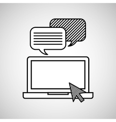 hand draw laptop message social network media vector image