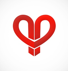 love abstract ribbon logo vector image