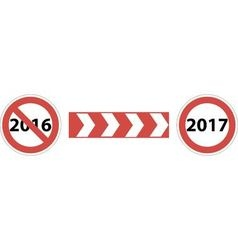 road sign beginning of 2017 vector image vector image