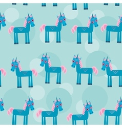 Seamless pattern with funny cute unicorn animal on vector image