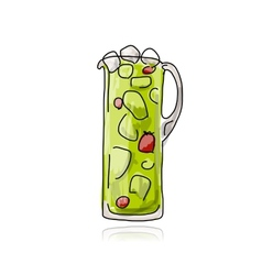 Strawberry cocktail in jug sketch for your design vector image