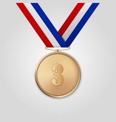 3d realistic bronze award medal with color vector image