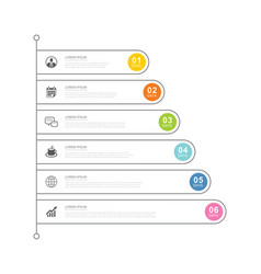 6 data infographics tab index template with thin vector