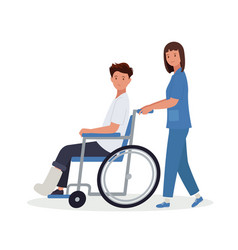 A doctor is taking patient with broken leg vector