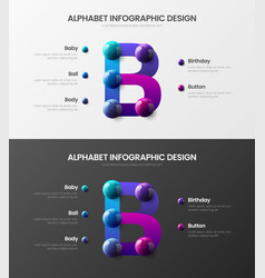 amazing alphabet infographic 3d realistic vector image