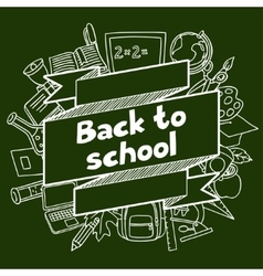 Back to school background with hand drawn icons vector