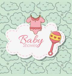 Bashower pink bodysuit rattle sticker clouds vector