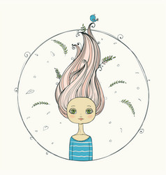beautiful girl with flying hair on summer vector image