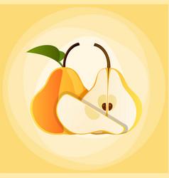 bright colorful half pear vector image
