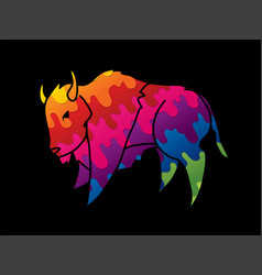 Buffalo running bison graphic vector