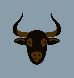 bull face flat style front vector image