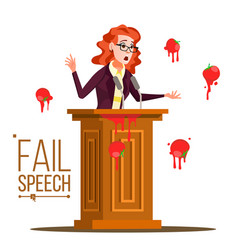 business woman fail speech unsuccessful vector image