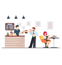 cafe shop and people relaxing modern place vector image