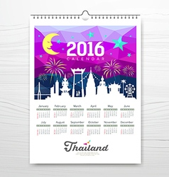 Calendar new year travel landmark with silhouette vector