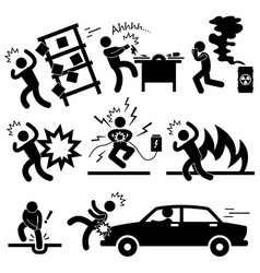 Car accident explosion electrocuted fire danger vector