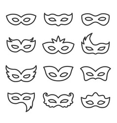 Carnival mask line icon set vector
