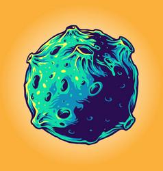 cartoon planet galaxy cosmonaut vector image