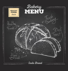 Chalk drawing bakery food soda bread vector