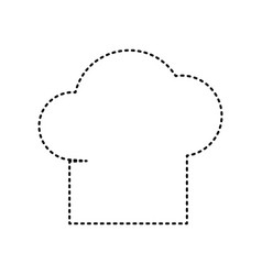 chef cap sign black dashed icon on white vector image