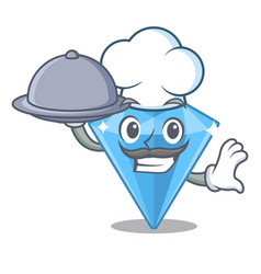 Chef with food sapphire gem in a mascot box vector