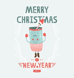 Christmas card with cute mug vector image