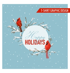 Christmas Winter Birds Graphic Design vector image