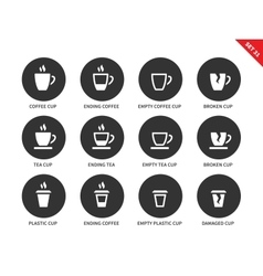 Coffee and tea cups icons on white background vector image