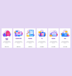 communication website and mobile app onboarding vector image