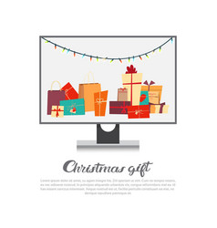 computer monitor with garland and holiday vector image