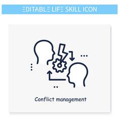 Conflict resolution line icon editable vector
