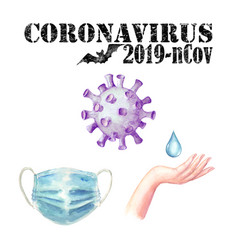 Coronavirus 2019-ncov set with black lettering vector