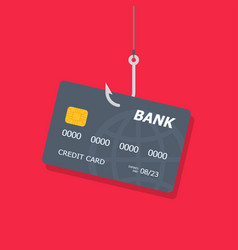 credit or debit card on fishing hook internet vector image