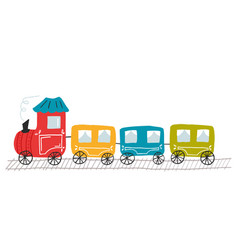 Cute children kids toy colorful train vector