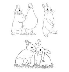 cute rabbit line art vector image
