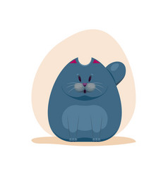 Cute surprised fatty smokey blue vector