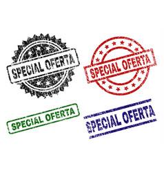 Damaged textured special oferta stamp seals vector