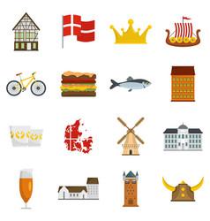 Denmark travel icons set flat vector