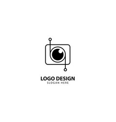 Digital camera and lens logo with monoline style vector