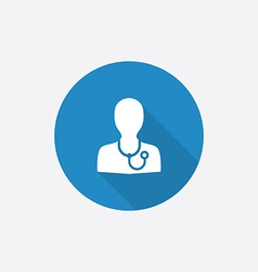 doctor Flat Blue Simple Icon with long shadow vector image