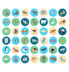 Domestic and wild animal in circles collection vector