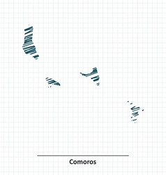 Doodle sketch of Comoros map vector